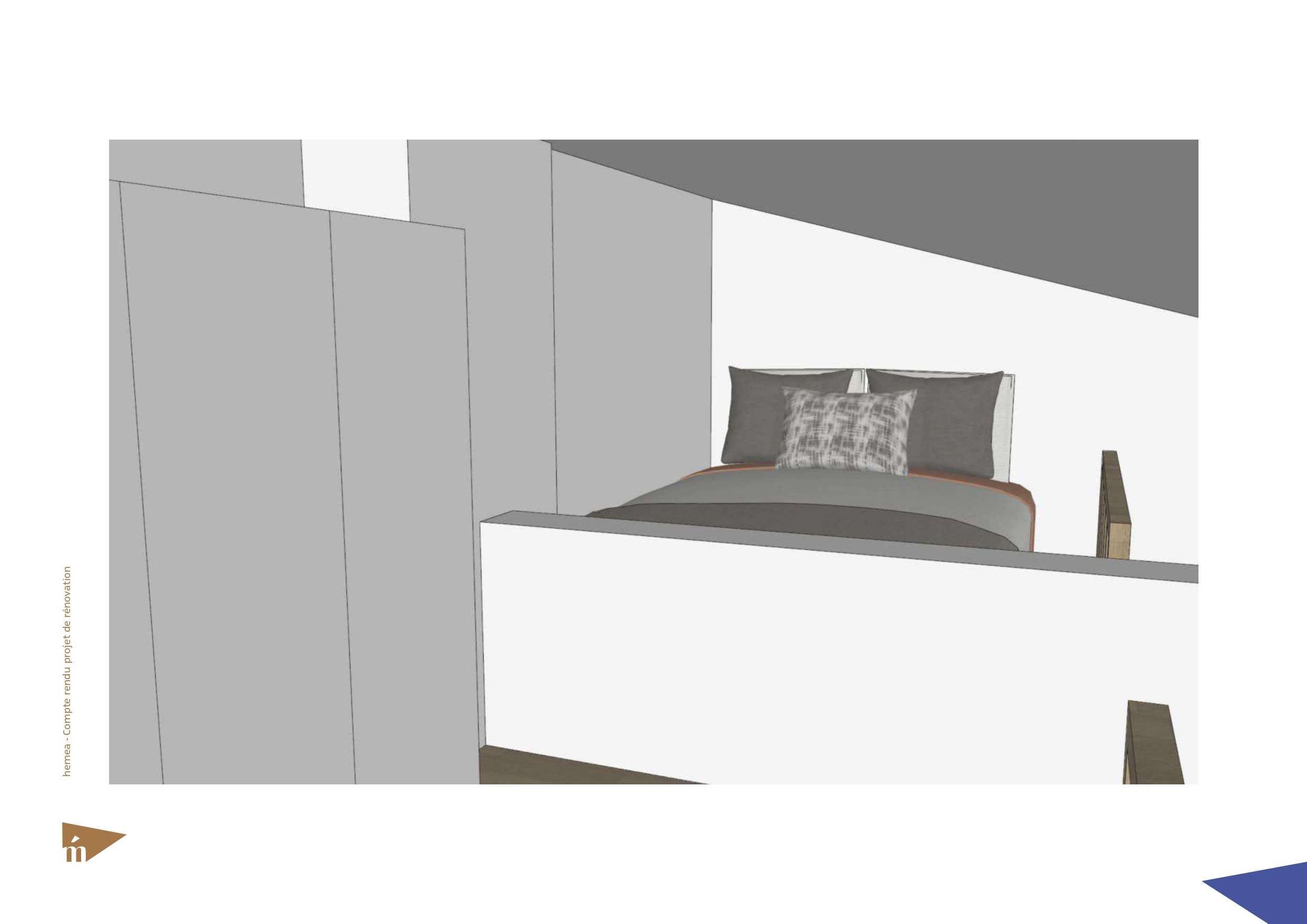 Plan 3D du coin nuit lit mezzanine