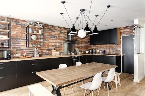 Rénovation appartement Paris 16 - vue cuisine et salle à manger