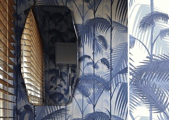 papier peint palmier bleu