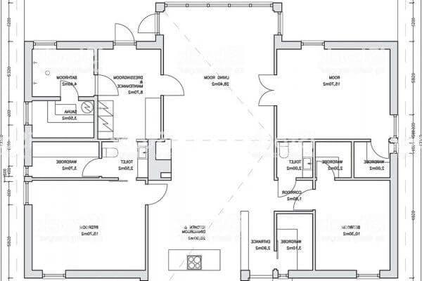 Plan d'une maison moderne de plain pied