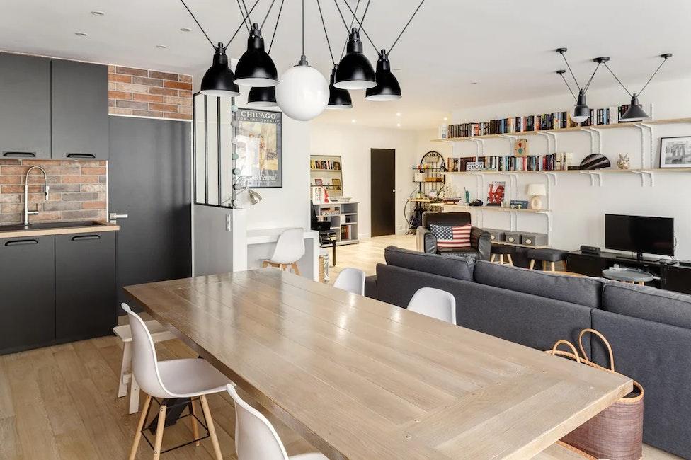 Salle à manger et séjour - Rénovation appartement