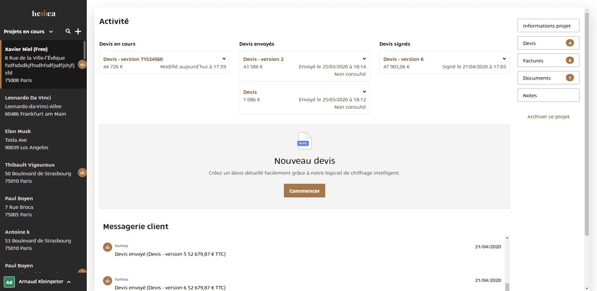 CRM logiciel devis visualisation compte client
