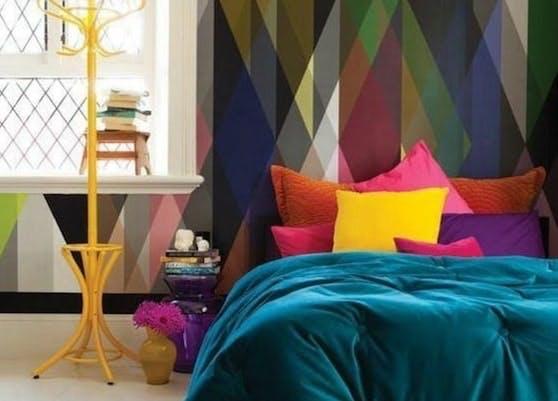 papier peint tete de lit arlequin design