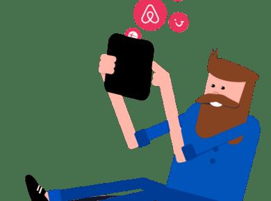man on his ipad using travelnest app