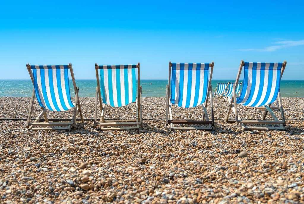 Blue and white deckchairs