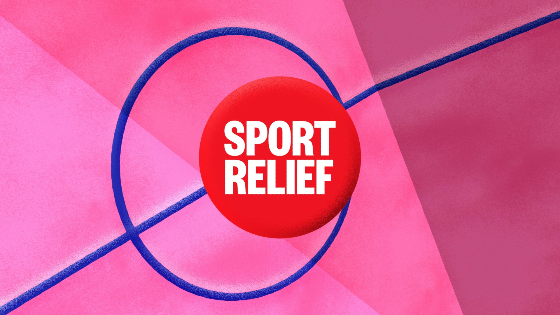 Sports relief 2020 Title design pink with blue lines