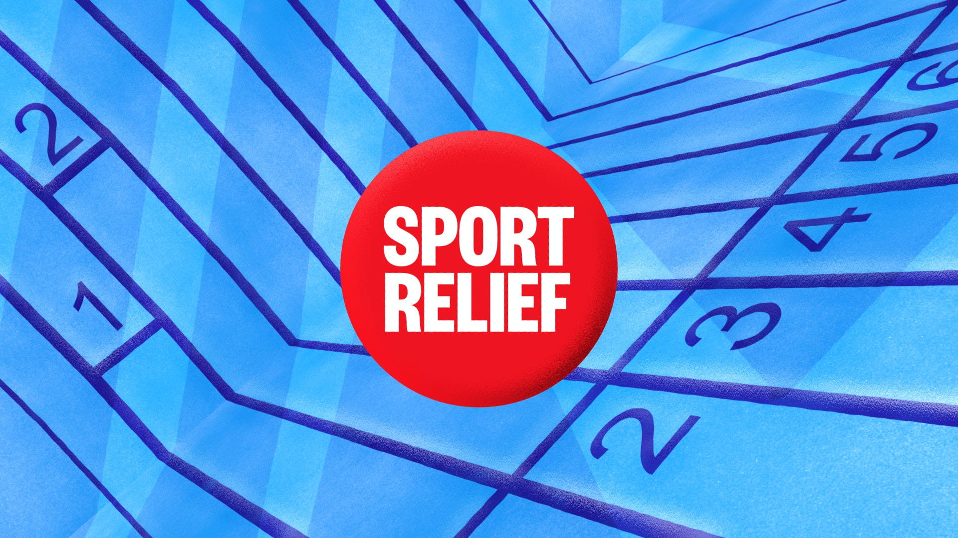 Sports relief 2020 Title design light blue with dark blue lines