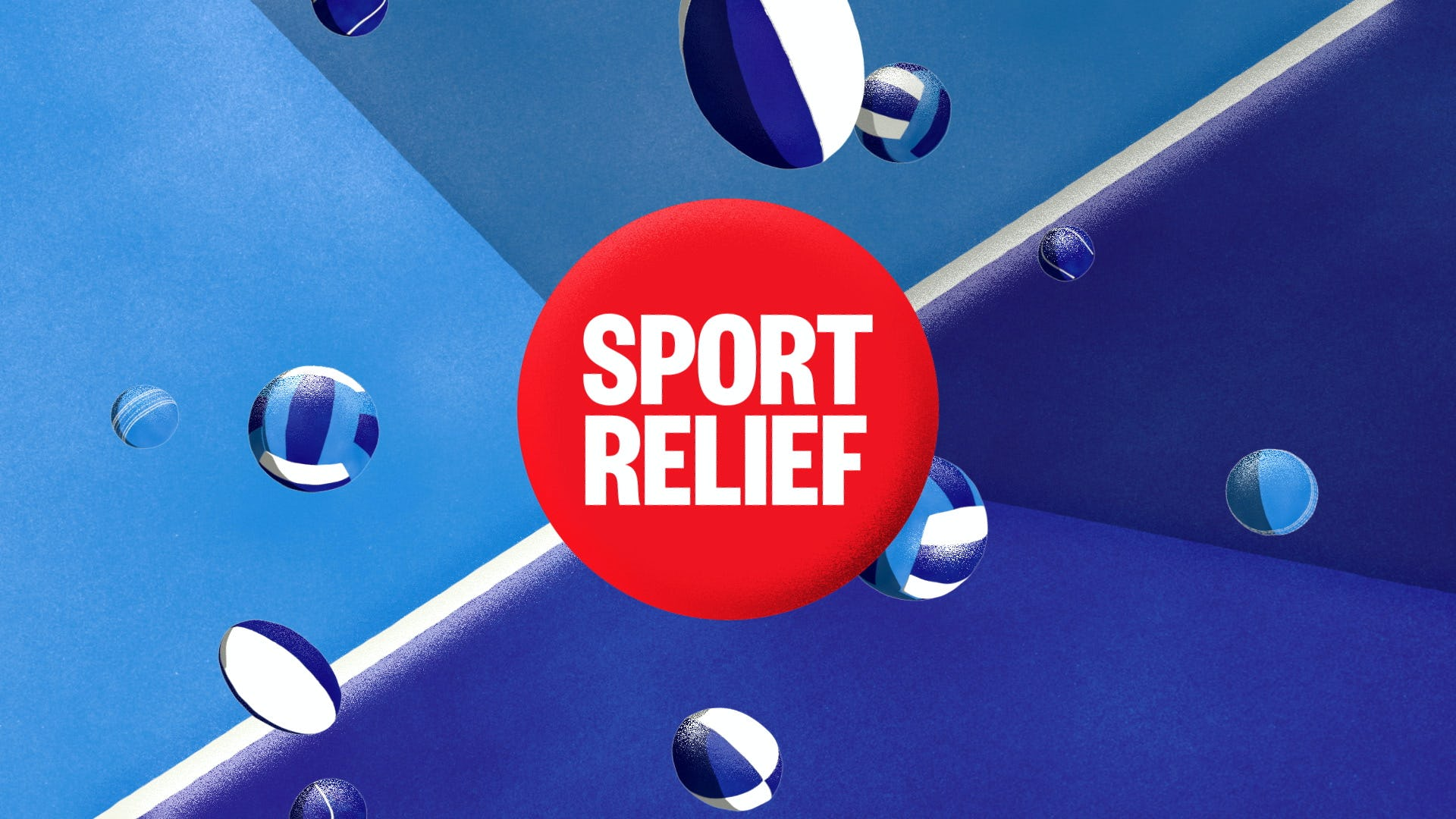 Sports relief 2020 Title design blue with balls