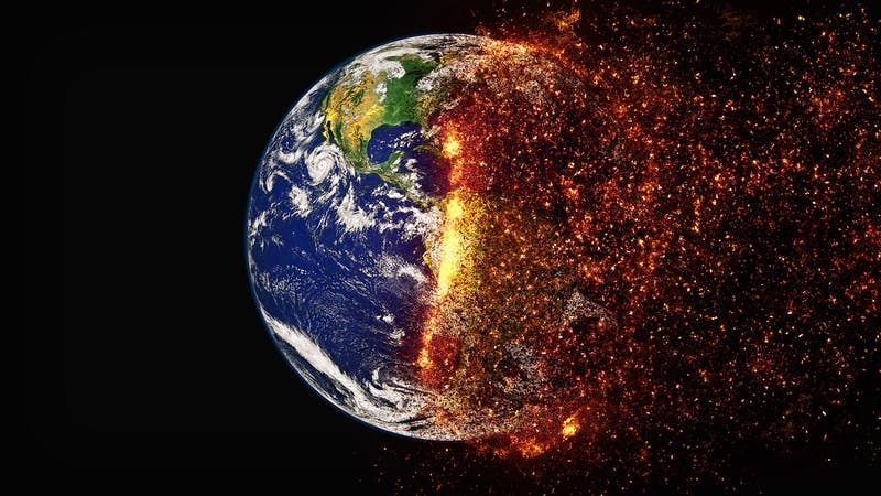 Climate change global warming burning planet Earth