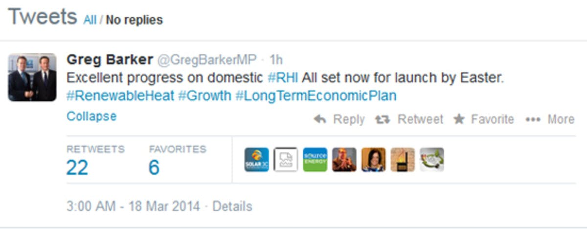 Greg Barker tweet about domestic RHI