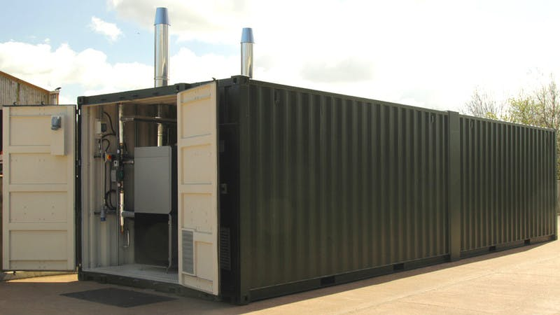 Welsh Wildlife biomass boiler system container solution