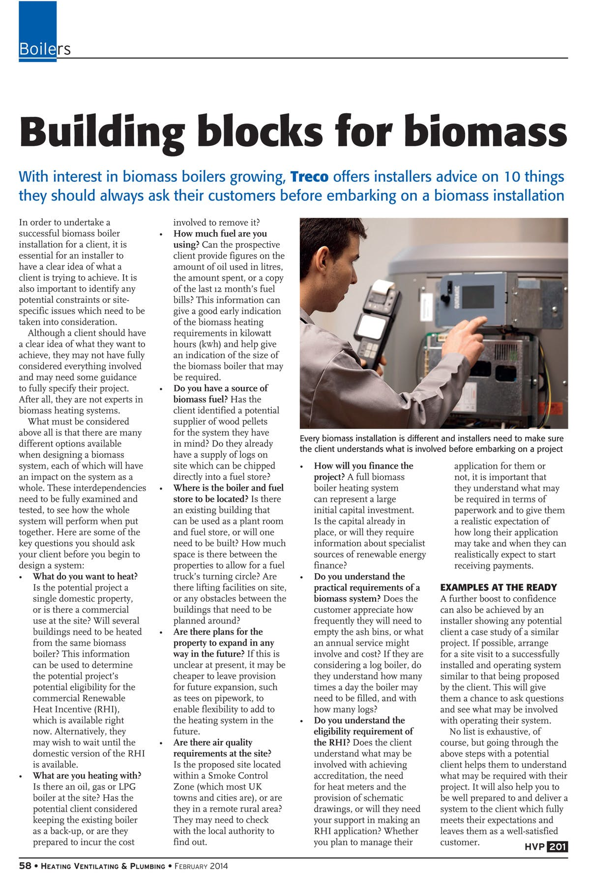 HVP Magazine - 10 things installers should ask before a biomass installation