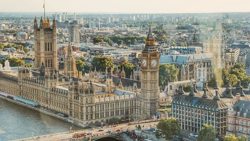 Daytime aerial photo of London and Parliament