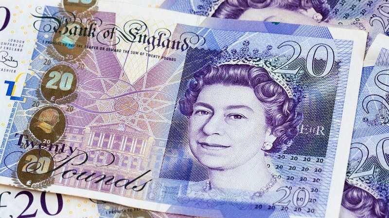 British pound money £20 notes