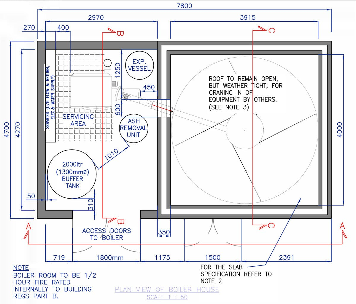 Perryfields Biomass Boiler Room CAD Drawing