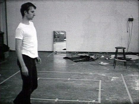 Bruce Nauman, Walking in an Exaggerated Manner Around the Perimeter of a Square, 1968