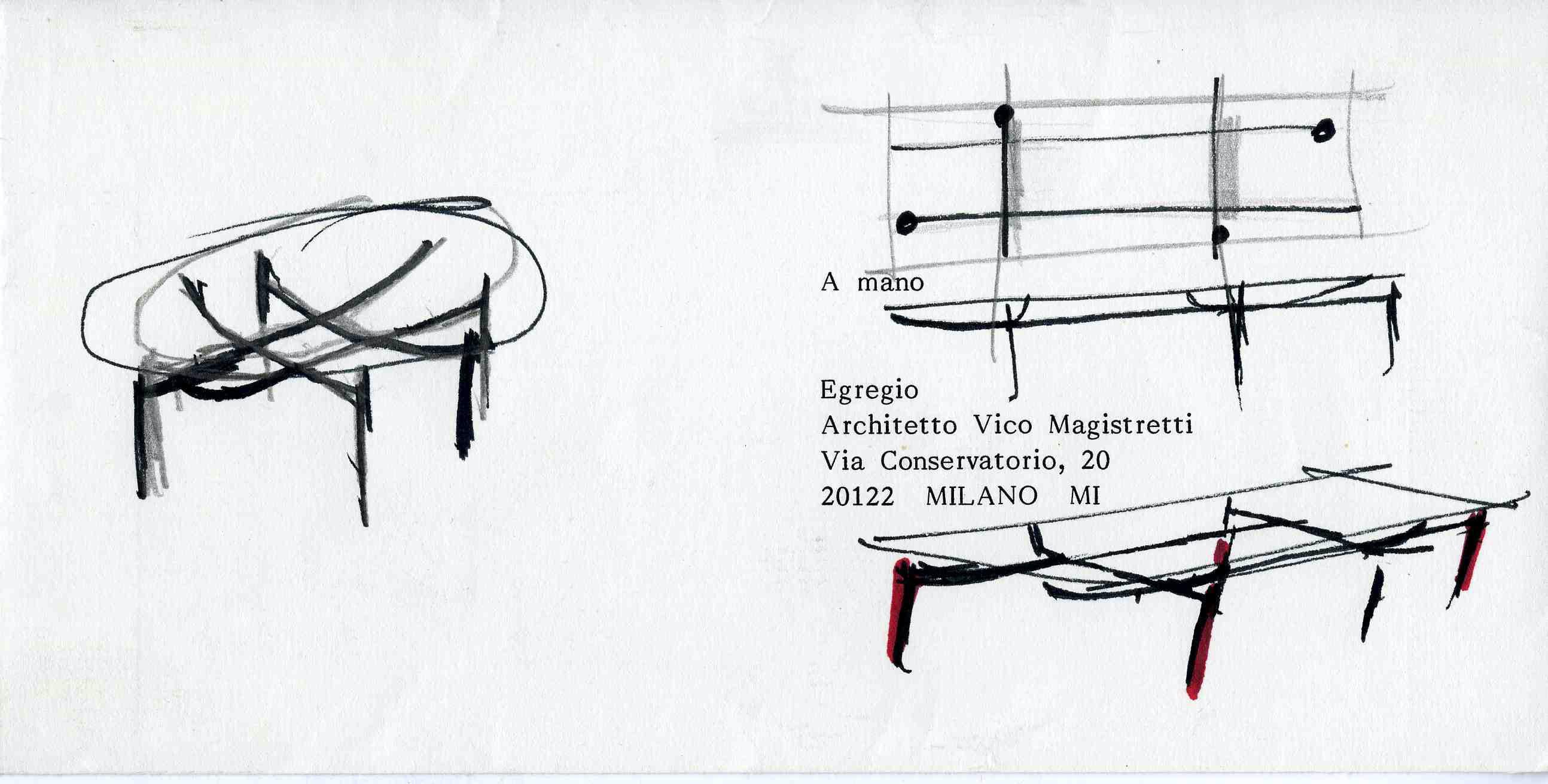 Disegno per tavolo Edison © Archivio Studio Magistretti - Fondazione Vico Magistretti