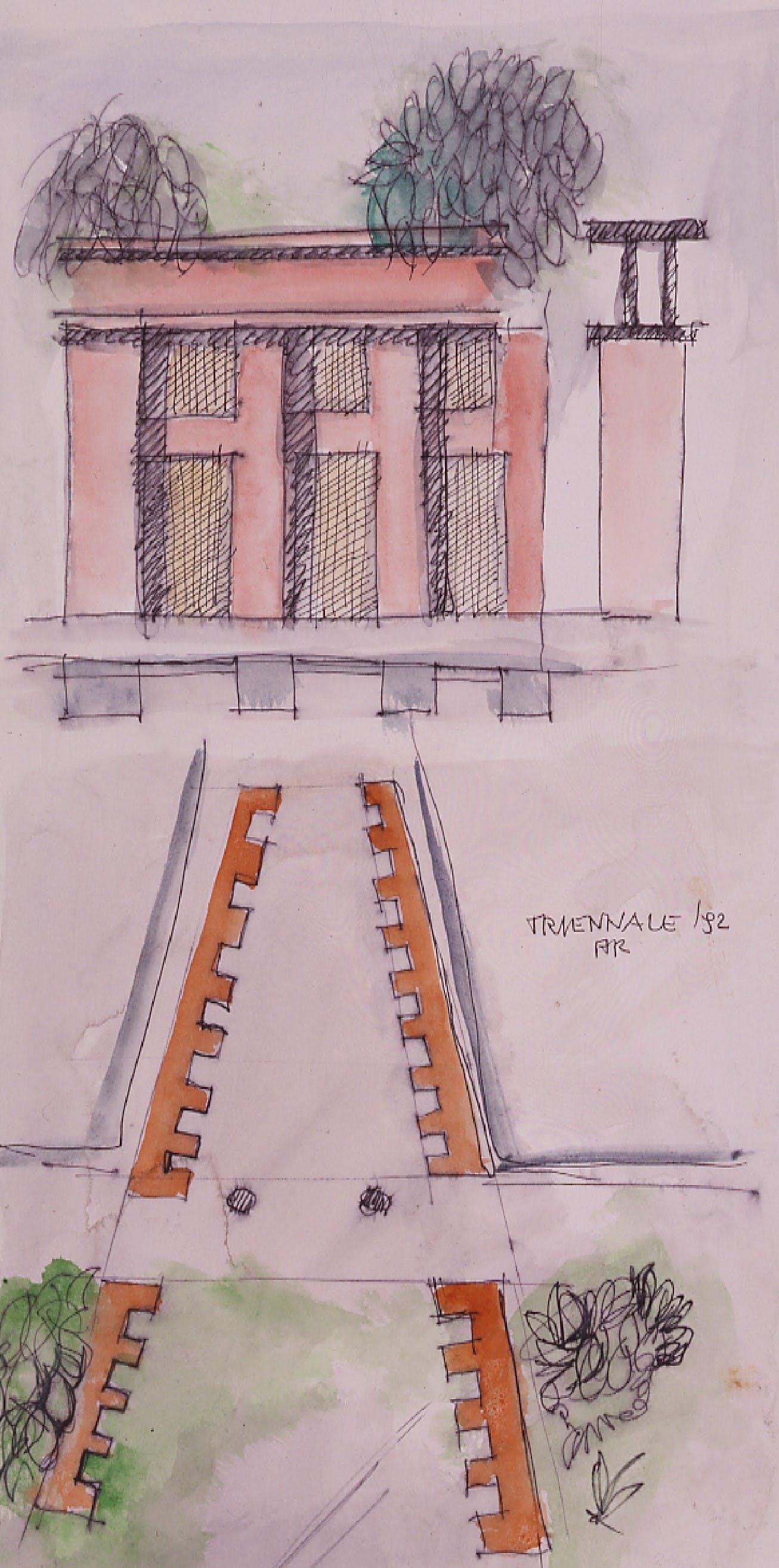 1992, XVIII Triennale, disegni per il progetto dell'allestimento Aldo Rossi e Luca Meda
