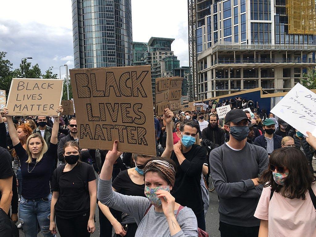 Protestors for Black Lives Matter at the US Embassy in London in June 2020 © Katie Crampton (WMUK)