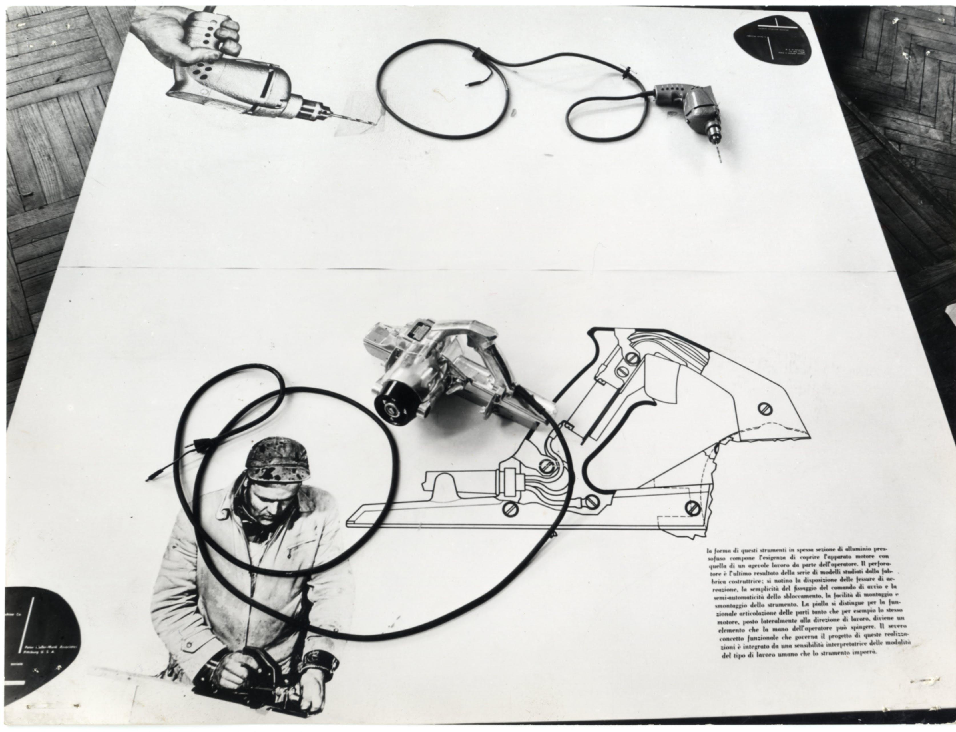Trapano elettrico a mano, design di Leonard Garth Huxtable, produzione Miller Fall Co. Greefield (U.S.A.) esposto nella Mostra dell'industrial design. X Triennale, 1954. Foto Fotogramma © Triennale Milano