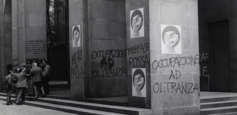 1968, La facciata principale del Palazzo dell'arte dopo l'occupazione della XIV Triennale