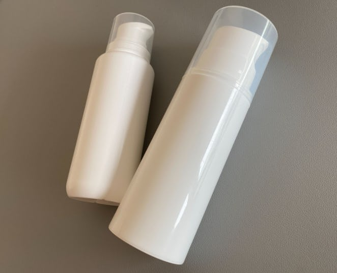 The new Tropic Labs airless packaging (left) vs. conventional airless packaging of the same size (right)