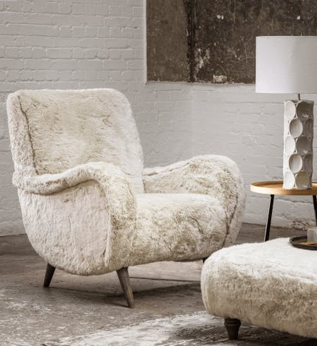 Faux fur armchair and matching bench