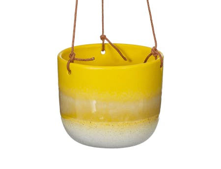 a yellow hanging planter