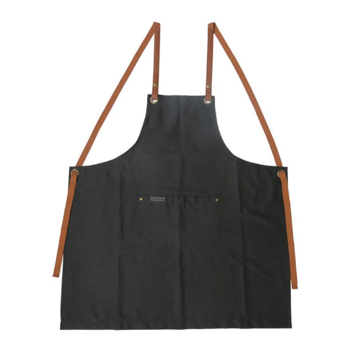 A black apron with brown leather straps.