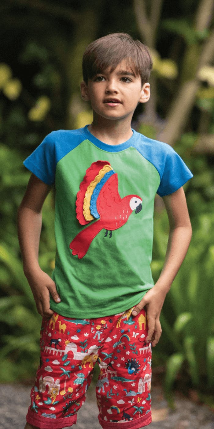 A young boy wearing a tshirt with a parrot on it.