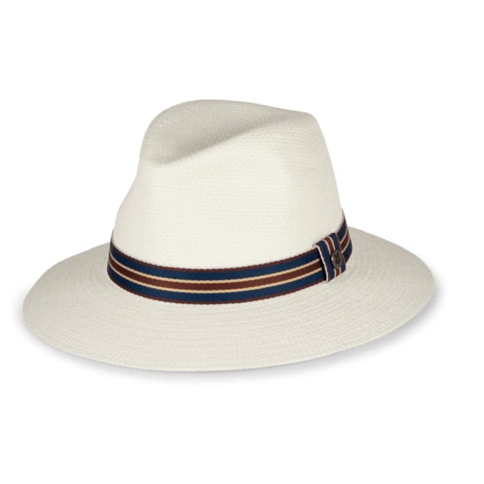 A white, brimmed hat.