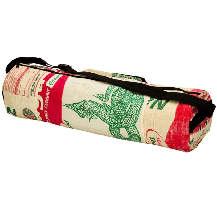 A rolled up yoga mat