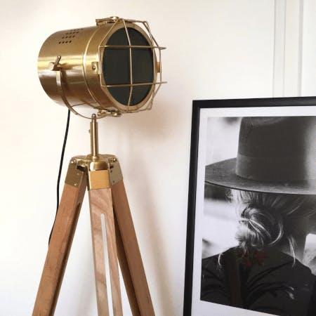Hollywood-style tripod floor lamp