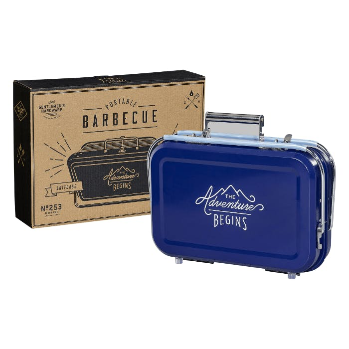 A barbecue that looks like a suitcase.