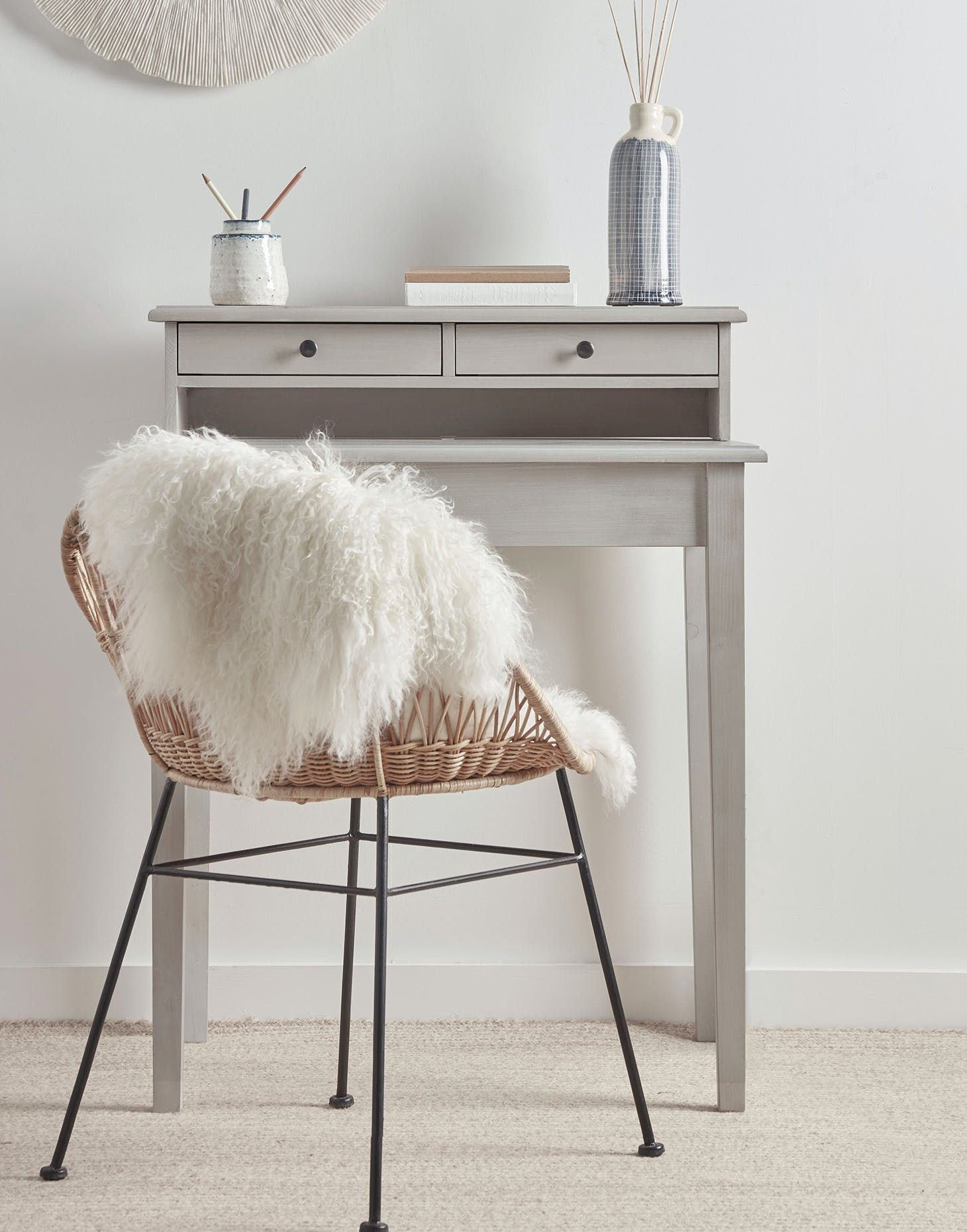 A grey writing desk from Cox & Cox.