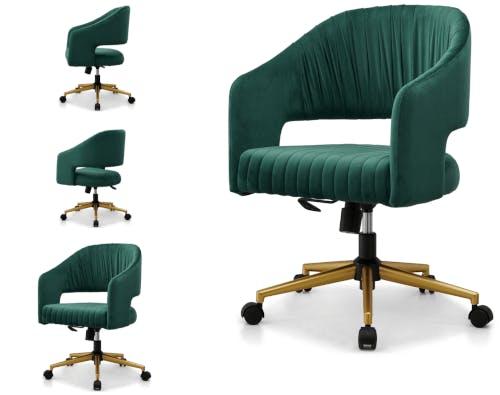 A velvet office chair