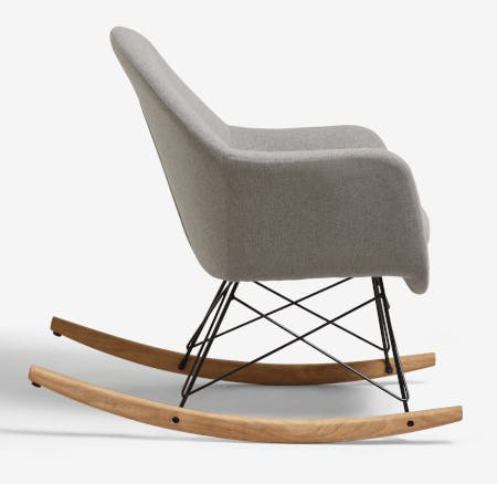 grey upholstered rocking chair