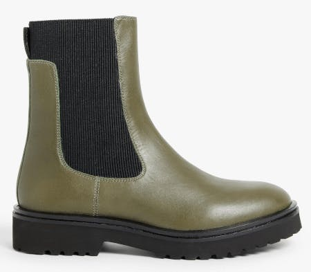 A green chelsea boot
