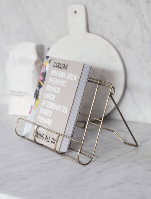antique brass effect cookbook holder