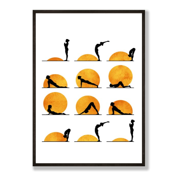 A poster depicting various yoga poses.
