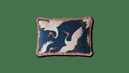 navy oriental birds cushion