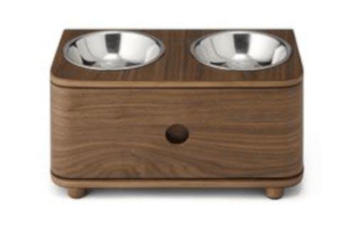 A walnut dog bowl set