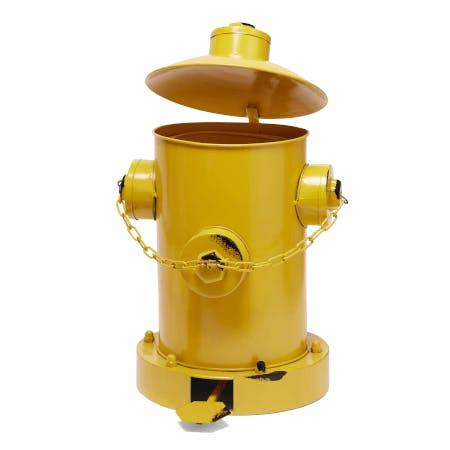 a fire hydrant pedal bin