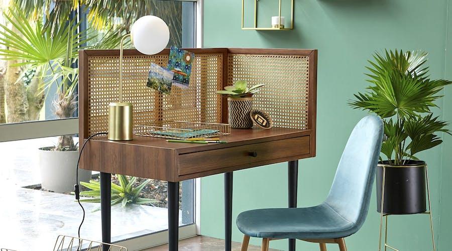 A rattan desk from La Redoute