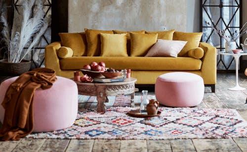 Mustard 4-seater velvet sofa