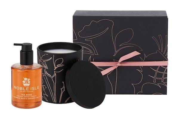 Noble Isle Wrapped Rose Candle & Bath Gift Set. Amara.com, £58.