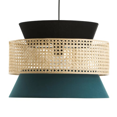 A unique looking lamp shade with a woven screen.