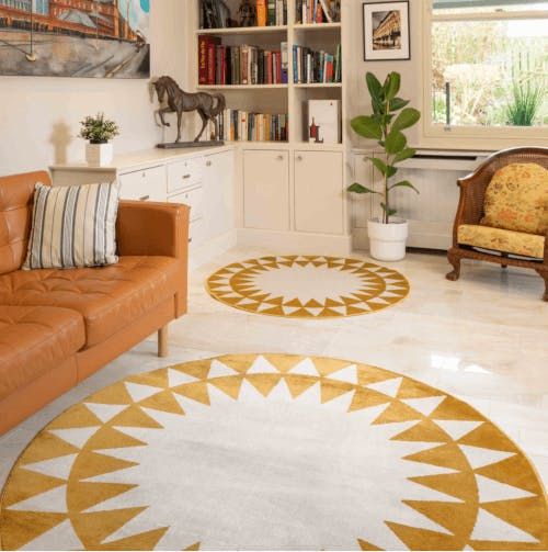 a yellow rug