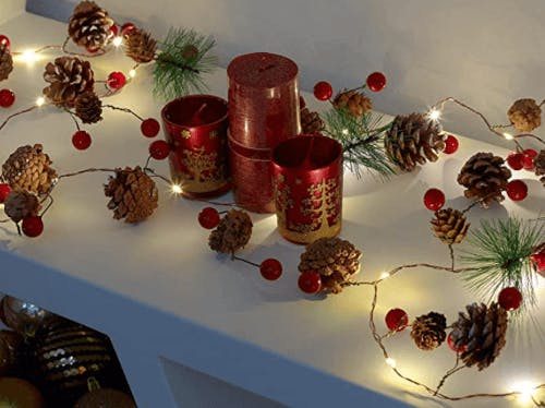 LED pine cone and red berry Christmas garland