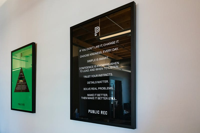 Public Rec styled their new space with inspirational branding.